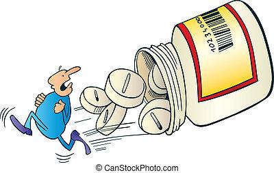 man, vluchten, voor, pillen
