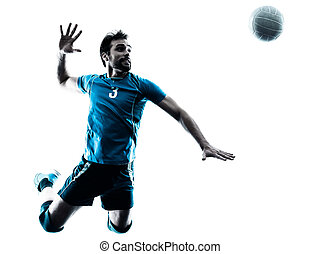 man volleyball jumping silhouette - one caucasian man...