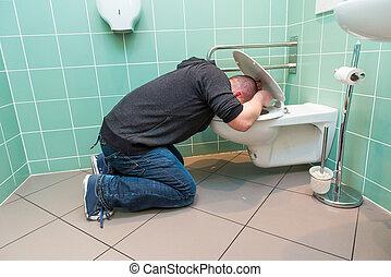 man, vomiting, in, de, toilet