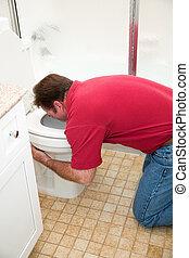 man, vomiting, in, toilet