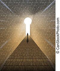man, voor, keyhole, van licht