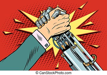 Man vs robot Arm wrestling fight confrontation, pop art retro vector illustration. New technology progress