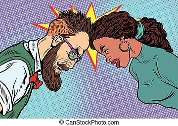 man vs woman, confrontation and competition. Gender...