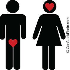 Man vs woman - Illustration of man vs woman way of thinking...