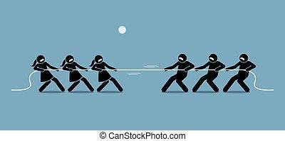 Man vs Woman in Tug of War.