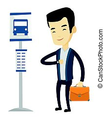 Man waiting at the bus stop vector illustration.