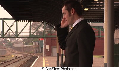 Man waiting for train