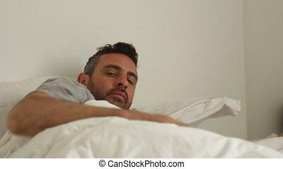 man wake up late - Shot of man wake up late