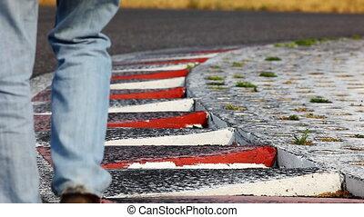 Man walk out race turn