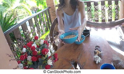 Man Walk To Girl Having Breakfast On Summer Terrace Action Camera Point Of View Of Couple Eating Oatmeal And Drinking Coffee