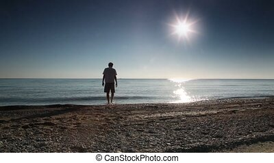 Man walked into the sea water