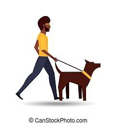 man walking a brown dog