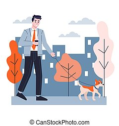 Man walking a dog. Businessman outdoor. Idea of active