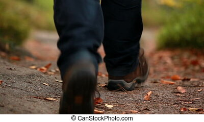 Man walking along a leafy path in a forest