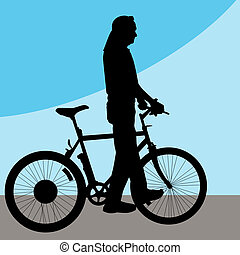 Man Walking Bicycle