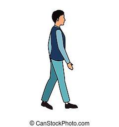 Man walking cartoon