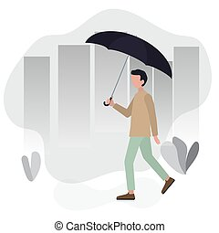 Man walking city street with umbrella in in his hand