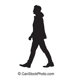 Man walking forward, isolated vector silhouette, side view