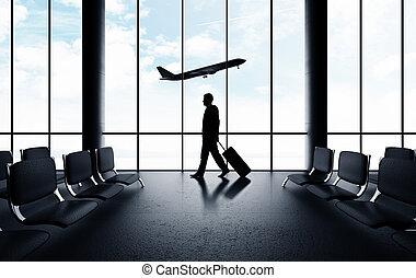 man walking in airport