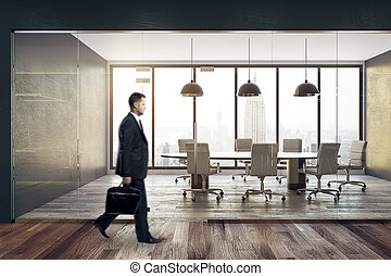 Man walking in conference room