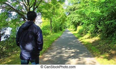 Man Walking in Nature