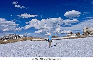 Man walking  in Rocky Mountainas National Park.