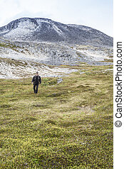 Man walking in the mountains