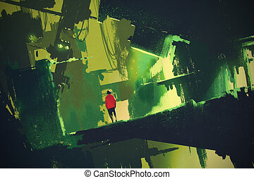 abstract green city - man walking into abstract green...