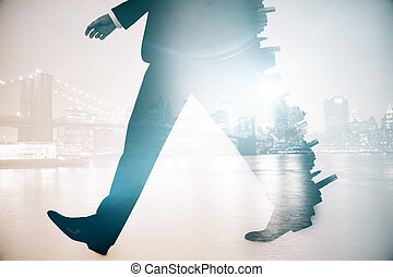 Man walking on city background