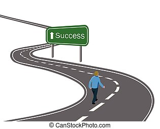 man walking on curved asphalt road highway to the green sign success with white arrow concept of way to success achieving goals victory journey