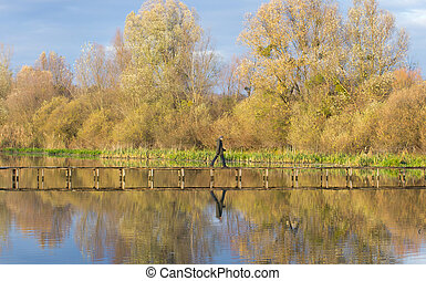 Man walking on dock