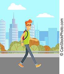 Man Walking on Street, City and Urban Landscape
