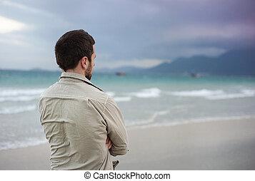 Man walking on the beach