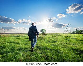 Man walking on the field