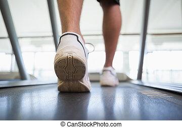 Man walking on the treadmill