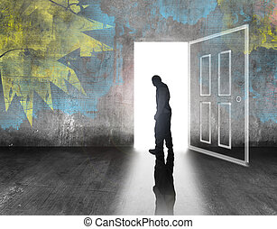 man walking out of door