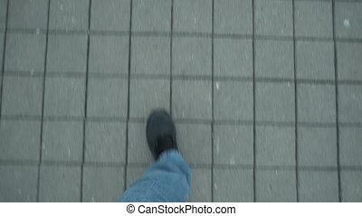 Man Walking over Airport Direction Sign POV - Handheld POV...