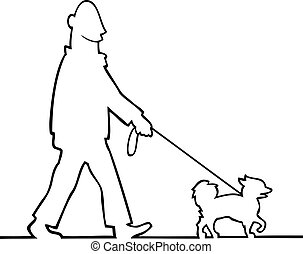 Man walking the dog - Black and white illustration of a man...