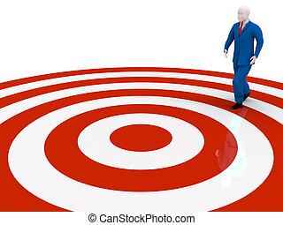 man walking to the target