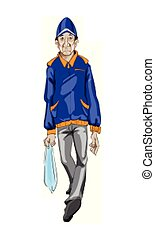 Man walking Vector. Random type. Detailed cartoon character illustrations