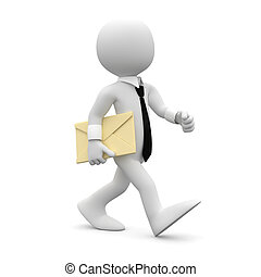 Man walking with a letter