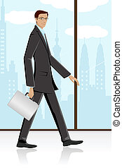 illustration of man walking with briefcase in corporate background