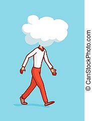 Man walking with cloud on his head or clouded thoughts