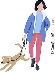 Man walking with dog flat color vector faceless character. Pet owner, dog lover strolling with playful puppy outdoors isolated cartoon illustration for web graphic design and animation