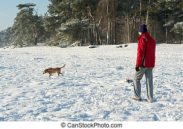 Man walking with dog in snow