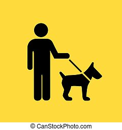 Man walking with dog sign