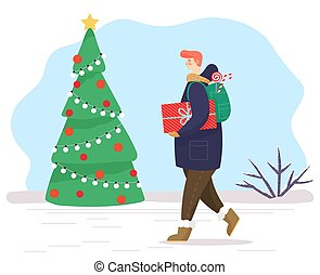 Man Walking with Gifts in Park, Christmas Fir Tree