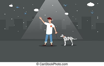 man walking with his dog on road in night