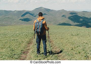 Man walking with trekking poles
