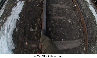 man walks by rail journey legs in boots video gopro - man...